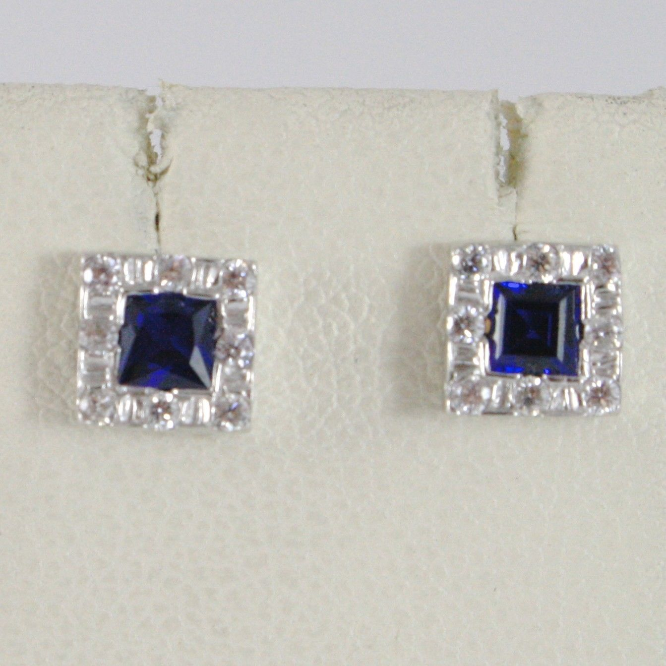 18K WHITE GOLD 6 MM SQUARE EARRINGS WITH ZIRCONIA PRINCESS BLUE, MADE IN ITALY