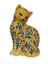 Vintage Ceramic Cat Art Nouveau Floral Yellow Large Figurine Seated Upright - $115.64