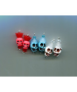 sugar skull flower charms bead drop pendants flowers plastic skeleton go... - $2.50