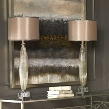 TWO LOREDO MERCURY GLASS BUFFET TABLE LAMPS SILKEN SHADE CRYSTAL UTTERMOST - $475.20