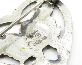 CORO 925 Sterling Silver - Vintage Baby Bird Open Love Heart Brooch Pin - BP2011 image 4