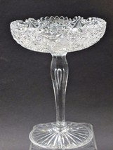 Cut glass tear drop stem compote American Brilliant period Antique - $64.52