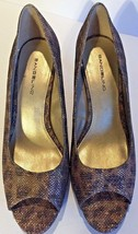Bandolino Womens Supermodel Gold Peep-Toe Heels Shoes 7.5M New Free Shipping - $28.27