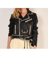 Stylish Black Leather Studded  Front Zip Formal Partywear  Jacket - $150.99+