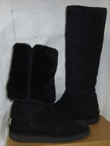 Ugg Collection Nero / Black Carmela Tall Suede Shearling Boots Size Us 8 , Eu 39 - $147.46