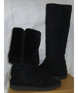 UGG COLLECTION Nero / Black CARMELA Tall Suede Shearling Boots Size US 8... - $147.46