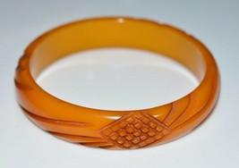 VTG Butterscotch Yellow BAKELITE TESTED Carved Crosshatch Bangle Bracelet - $198.00