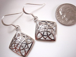 Celtic Square Circle & Semi Circle Design Dangle Earrings 925 Sterling S... - $15.83