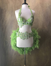 Pick Size-Lime Green 2pc Sequin Rhinestone Beaded Feather Theater Showgi... - $169.99