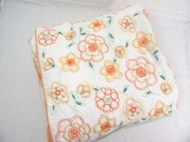 Pottery Barn Embroidered Floral Orange Yellow Stitched Full/Queen Duvet ... - $85.00