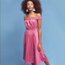 Anthropologie Maeve XS Mona women's raspberry dress off shoulder purple ... - $19.77