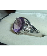 Ring 10K White Gold Amethyst Solitaire w/ Diamond Accent 2.50ct. Sz 8.5 - $229.95