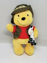 "Disney Store Winnie the Pooh Plush Safari Bear 10"" Zebra, Vest and Hat - $6.53"