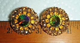 VTG RAINBOW CRYSTAL WATERMELON RIVOLI RHINESTONE NECKLACE CLIP EARRING S... - $287.99