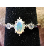 Faceted Welo Opal with CZ crystals Sterling Silver handmade ring adjustable - $80.00