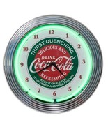 Coca Cola Neon Lighted Retro Round Analog Wall Clock 15 Inch Kitchen Bar... - $84.74