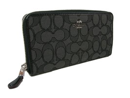 Coach C Signature Large Accordion Wallet Purse Hand Bag Black Gray NWT - $118.79