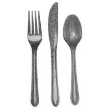 Glitz Glittering Silver Plastic 24 Pc Asst Cutlery Forks Knives Spoons - $5.69