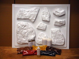 SUPPLY KIT+ 24 FIELDSTONE MOLDS MAKE 1000s OF STONE VENEER AND ROCKS FOR... - $306.88