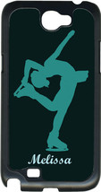Monogrammed Teal Green Figure Skating Pose on Samsung Galaxy Note II 2 Hard Case - $15.95