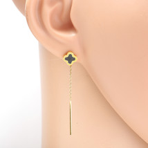Gold Tone Designer Drop Earrings with Jet Black Faux Onyx Clover and Tassel - $16.99