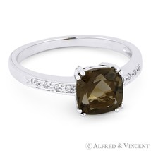 1.41ct Cushion Cut Smoky Topaz Round Diamond Right Hand Ring in 14k Whit... - £325.36 GBP