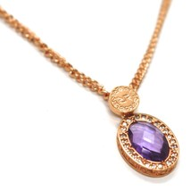 REBECCA BRONZE ROSE NECKLACE, GROUMETTE CHAIN, PURPLE CRYSTAL OVAL, B14KRA23 image 2