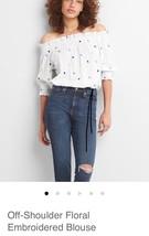 Gap Off-Shoulder Floral Embroidered Blouse: Medium - $22.72