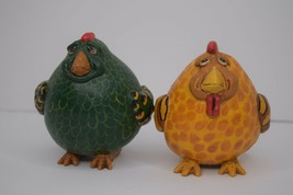 """Lot of 2 1997 Vickie Thomas Fat Chicken Painted Gourd Enesco 4.5"""" Shaker... - $23.75"""