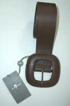 7 Seven FOR ALL MANKIND Square BUCKLE Belt GENUINE LEATHER (XS) BROWN $118 - $29.97