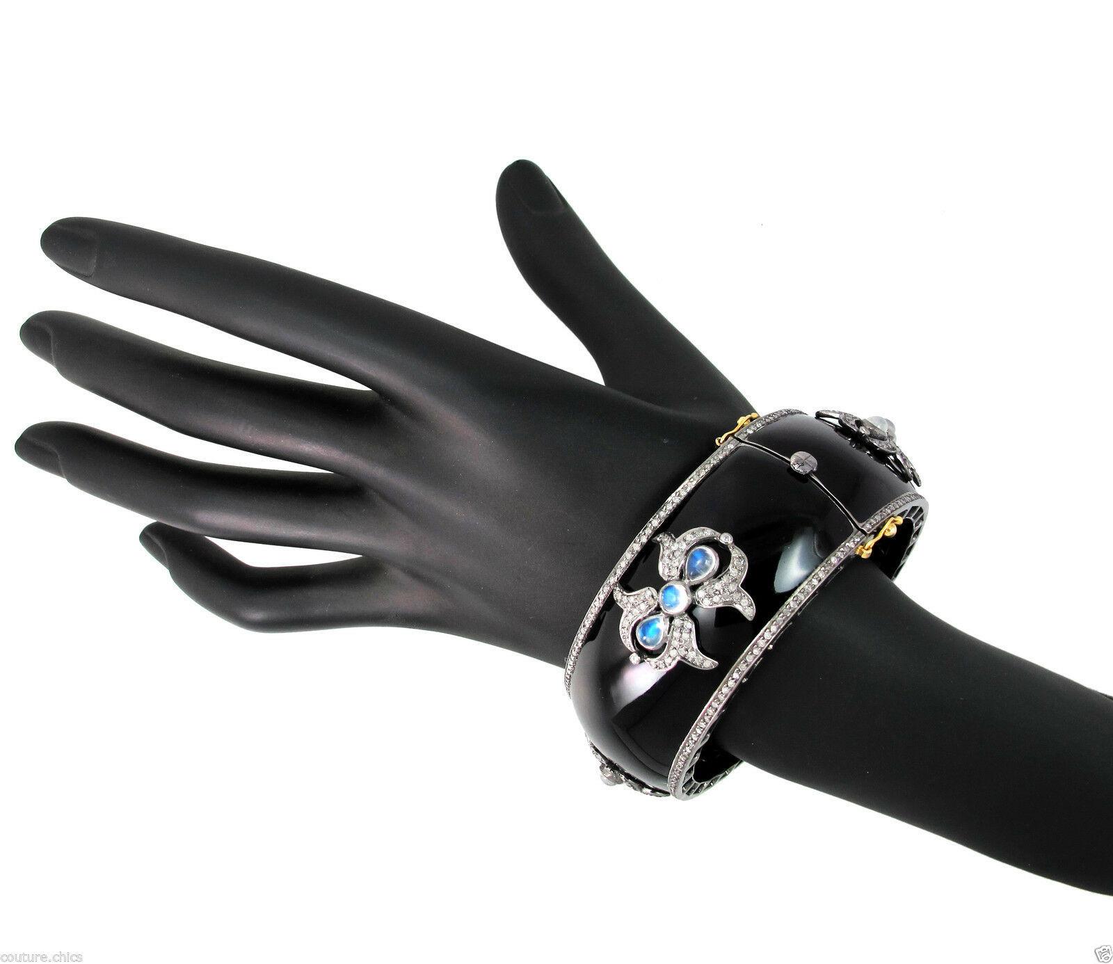 925 Sterling Silver Pave 3.9ct Diamond Enamel Bangle Bracelet 14k Gold Moonstone