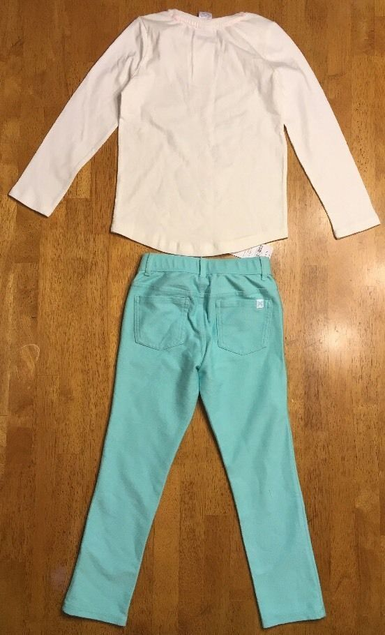 NWT Gymboree Girl's White Panda Origami Shirt & Teal Jeggings Outfit - Size: 5 image 12