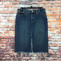 Gap Womens Size 6 Raw Hem Frayed Dark Wash Denim Skirt - $10.79
