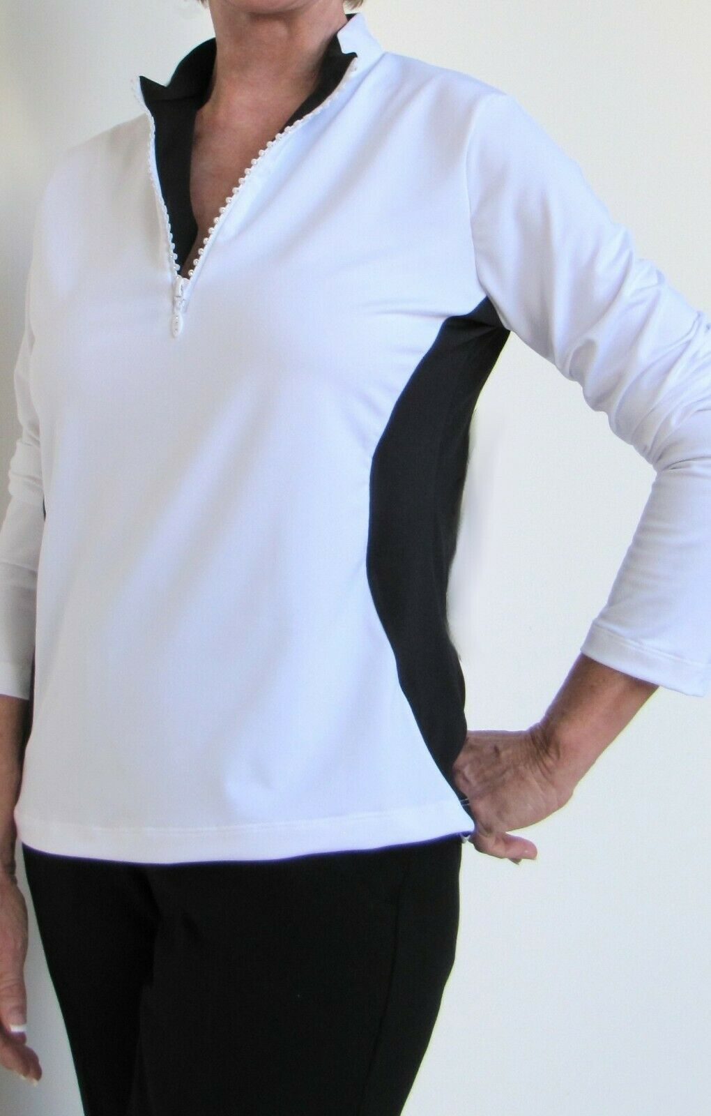 GOLF & CASUAL TAN LONG SLEEVE TOP WITH ZIPPER NECK  - NEW - GOLDENWEAR image 4