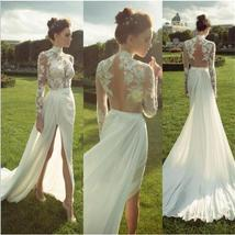 Ivory long sexy evening cheap wedding dress, side split Prom Dress, PD0317 - $189.00