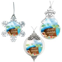 Beach Holiday 2019 Christmas Vacation Silver Ornament Snowman Snowflake ... - $12.97