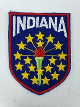 Vintage Voyager Brand State Of Indiana Patch Red Boarder Tourist Travel ... - $4.99