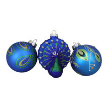 "3ct Peacock Design Glass Christmas Ornament Set 3.25"" (80mm) - tkcc - $49.95"