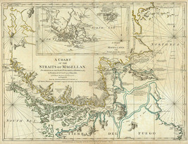 """1776 Map Chart Of The Straits Of Magellan 16""""x20"""" Chile Argentina Poster History - $16.34"""