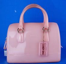 Auth Furla Candy Bag Peach Pink Pvc Small Boston Hand Bag Handbag Purse Italy - $197.01