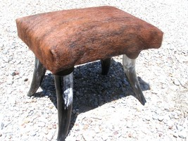 cowhide horn footstool Rustic decor stool Made In USA 0187 bz - $179.98