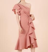 One Shoulder Midi Formal Dress Outfit Summer Wedding Bridesmaid Chiffon Dress  image 7