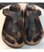 Birkenstock Gizeh Birko-Flor Golden Brown thong sandal size 38 7-7.5 - $56.10