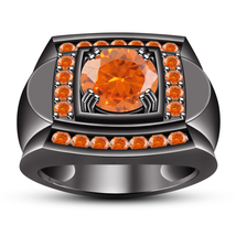 Men's Band Engagement Ring Orange Sapphire Black Gold Plated Solid 925 S... - $109.98