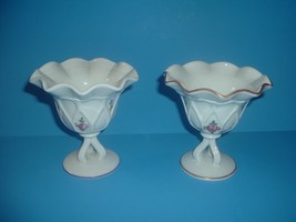 2 Westmoreland Glass Handpainted Artist Signed Compotes - $39.99