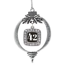 Inspired Silver Number 42 Classic Holiday Decoration Christmas Tree Ornament - $14.69