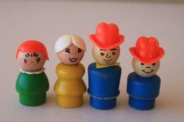 FPLP Fisher Price Little People Play Family Farm 4 Wood People Farmer Boy Girl - $16.92
