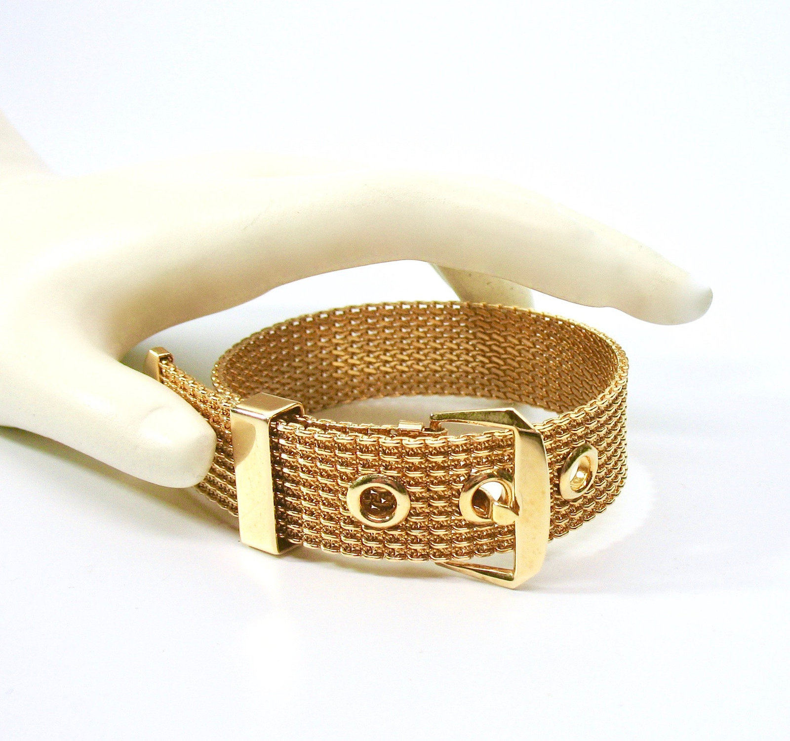 Mesh Buckle Bracelet, Gold Tone, Avon, 1970's, Adjustable, Signed Collectible, D