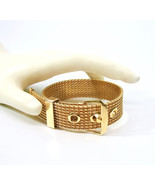 Mesh Buckle Bracelet, Gold Tone, Avon, 1970's, Adjustable, Signed Collectible, D - $24.00