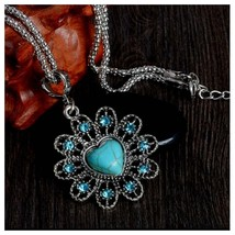 Turquoise Heart And Flower Necklace, Antique Silver Vintage Style - $3.99